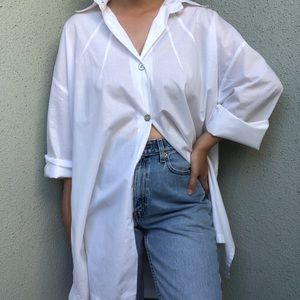[vintage] white lightweight tunic button up/jacket